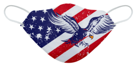 A washable and reusable American flag and eagle pattern printed cloth face mask with comfortable elastic ear bands